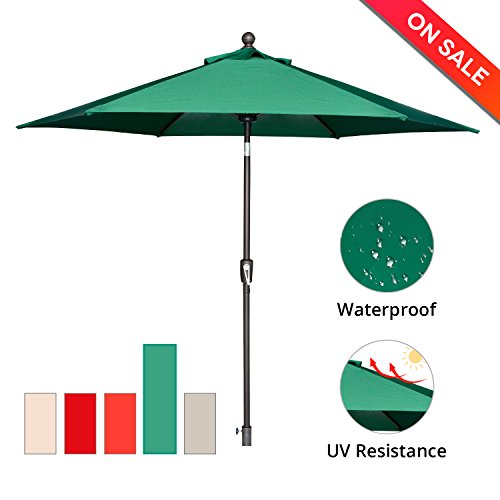 SUNLONO 9′ Outdoor Patio Table Umbrella Backyard Garden with Sturdy Aluminum Ribs, Crank Winder, Push Button Tilt, Dark Green