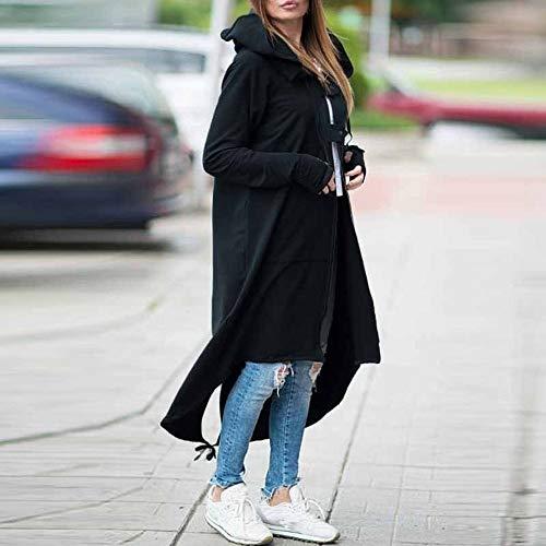 Sweatshirt Jacket Longues À Manche Noir Poche A Hoodie Capuche Automne Coat Hiver Femme Susenstone Manteau Long Trench Robe FawY7A