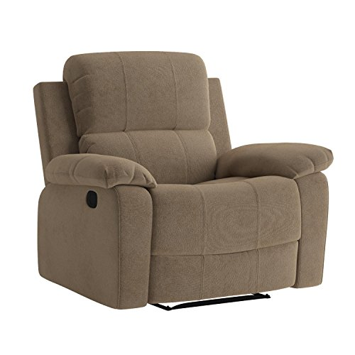 Major-Q Memory Foam Washed PU Leather Fully Recliner Chair for Living Room Tan 59527, 7059527