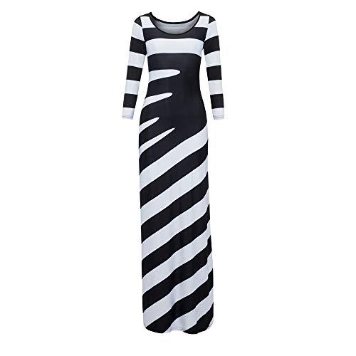 - kaifongfu Women Ankle-Length Dress Stripe O-Neck Three Quarter Sleeve Dress(Black,XXXL)