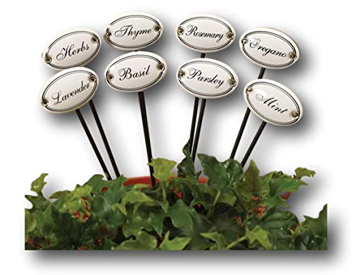 Herb Stake Ceramic Garden Plant Markers - Set of 8
