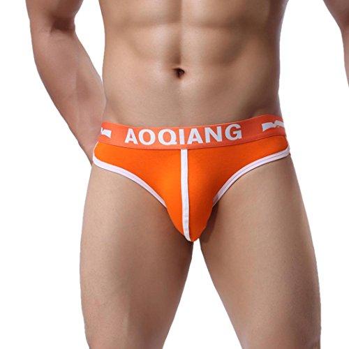 Men's Underwear,Neartime Mens Boxers Pouch Shorts Underpants Sleepwear (L, Orange)
