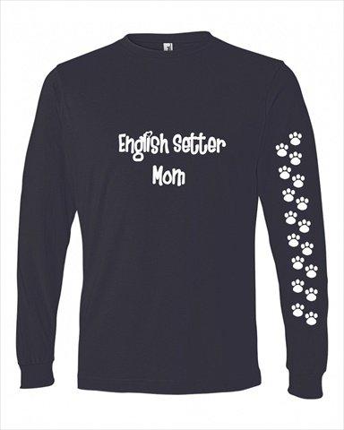 Setter Inglés mamá camiseta damas corte azul manga larga ...