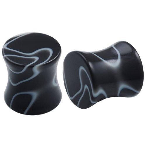 00g black marble swirl solid double flare plugs acrylic saddle stretching piercing ear gauge jewelry BFHK ()