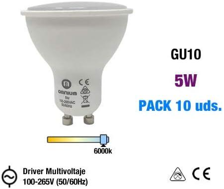 Kuara Lite by Omnium Electric Pack 10 Bombillas LED GU10, Driver multivoltaje 100-265V (50/60Hz) (Blanco Frío 5W) [Clase de eficiencia energética A+]: Amazon.es: Hogar
