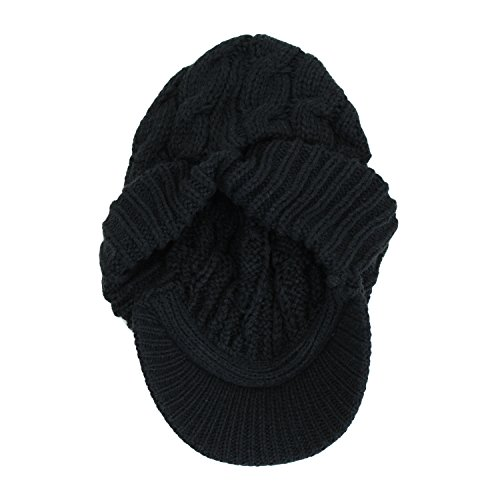 baf982fca74 Warm Ribbed Cable Knit Winter Beanie Hat w  Visor Brim