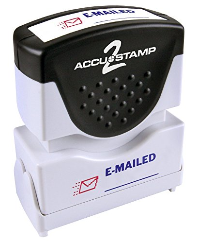 """Accustamp2 Pre-Inked Message Stamp, """"EMAILED"""" , 1/2"""" x 1-5/8"""" Impression, Red and Blue Ink (035541)"""