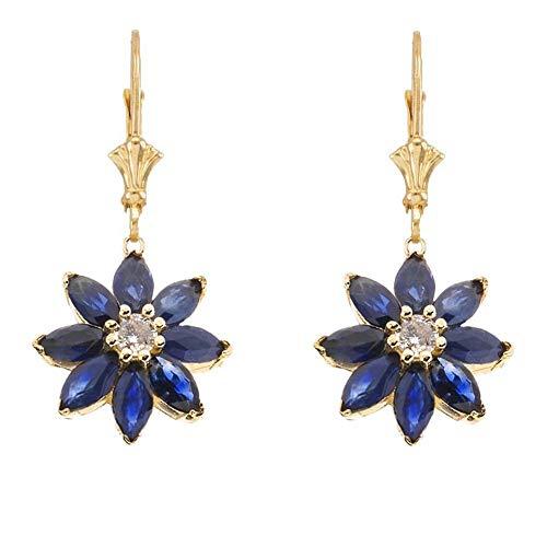 Exotic 14k Yellow Gold Daisy Diamond and Sapphire Flower Leverback Earrings Diamond Flower Drop Earrings