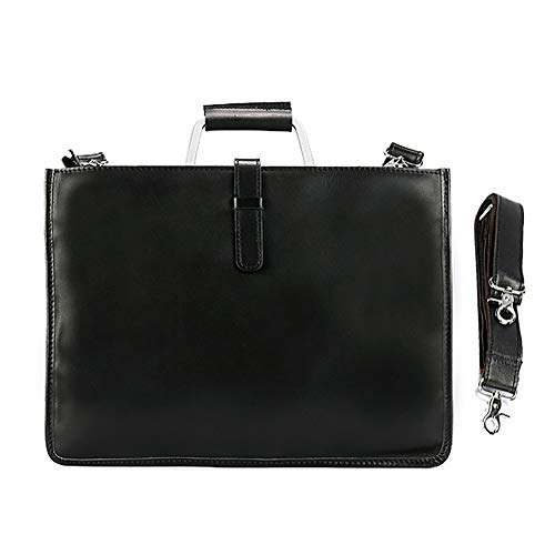 Egoelife Genuine Leather Briefcase Laptop Handbag Messenger Business Bags for Men (Black) by Egoelife