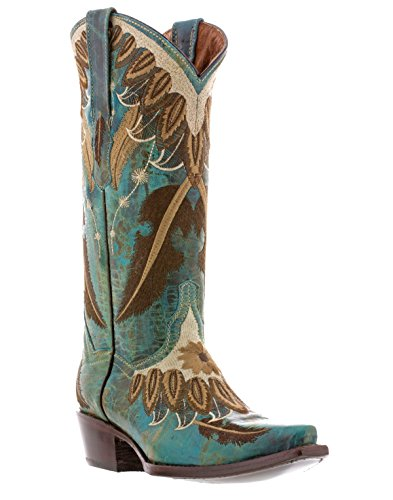 Cowboy Professionnel Féminin Plume Broderie Cuir Cowboy Cowgirl Bottes Turquoise