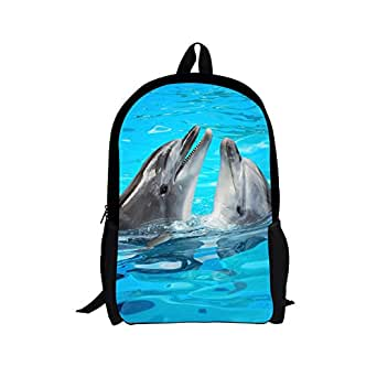 Cool 3D two Dolphin Children 16-inch School Book Bag Printing Backpacks For Kids,Boys or Girls