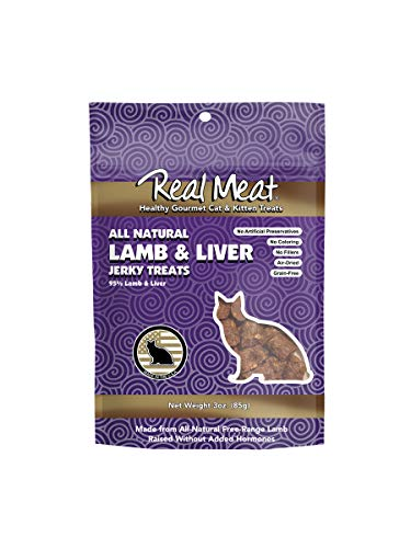 The Real Meat Company Cat Treats, 3 Ounces, All-Natural Lamb and Liver Jerky (Meat Cat Treats Jerky Real)