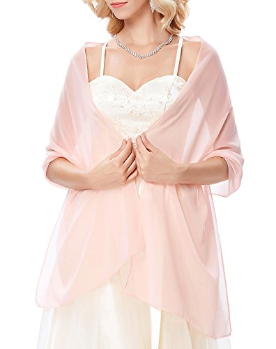 Soft Chiffon Bridal Evening Long Scarves in Solid for Women Light Pink ()