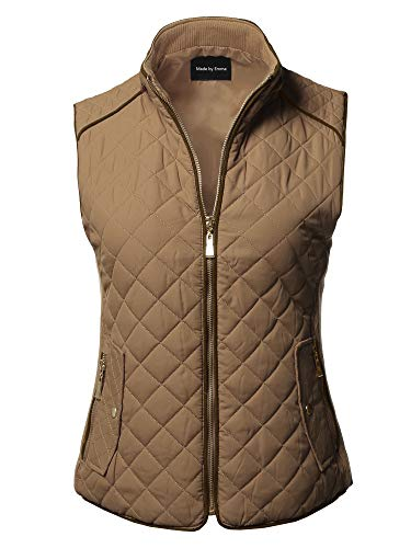 Made by Emma Slim fit Casual Quilted Suede Piping Details Gold Zipper Padding Vest Camel L