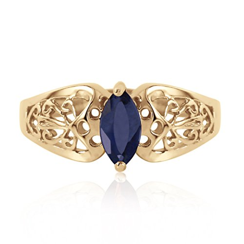 - 14k Yellow Gold Filigree Ring with Natural Marquis-shaped Sapphire - Size 6.5