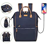 Desanissy Outdoor Doctor Style Travel Backpack Work Pack Casual Day Bag Waterproof Travel Rucksack Urban Day Backpack for Women Dark Blue + Brown Trim |15.6 Inch Laptop Backpack