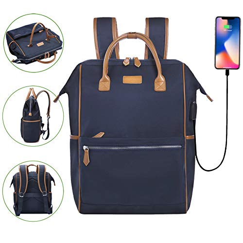 Desanissy Outdoor Doctor Style Travel Backpack Work Pack Casual Day Bag Waterproof Travel Rucksack Urban Day Backpack for Women Dark Blue + Brown Trim |15.6 Inch Laptop - Style Bag Leather Doctor