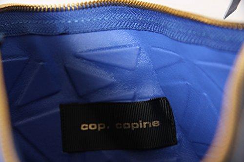 Cop Copine Abendtasche, Modell Isigny, geprägtes Design, Lederoptik, Riemen abnehmbar, Blau