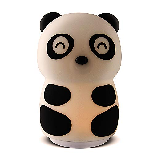 LED Nursery Night Lights for Kids, Cute Touch Control Animal Silicone Baby Child Lamp Portable and Rechargeable Eye Caring LED Infant or Toddler Brightness Changing Bright Nightlight (Panda)