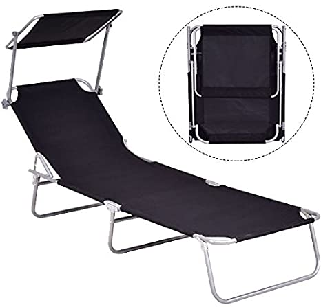 KA Company Beach Chair Outdoor Lounge Relax Chaise Recliner Canopy Bed Camping Foldable Folding Relaxing Garden