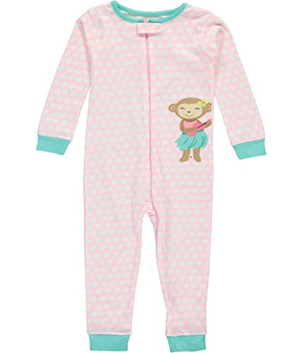 5t Cotton (Carter's Little Girls' 1-Piece Snug Fit Footless Cotton Pajamas (5T, Pink/Hula Monkey))