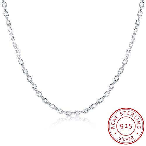 GYXYZB Woman's Fine Jewelry 925 Sterling Silver Flat Chain Charm 2Mm Wide Silver Necklace 16