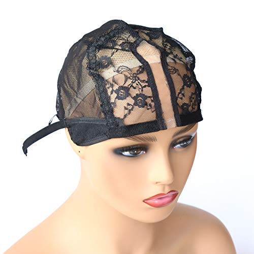 Colorfulwigs U Part Wig Cap for Making Wigs with Adjustable Strap Medium Size Black Dome Mesh Weaving Wig Cap for Women Girls DIY Wigs (1pc-Black) (Best Weaving Cap For U Part Wig)