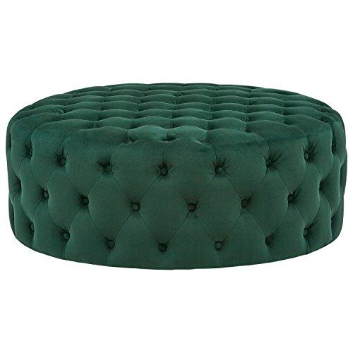 Rivet Cliff Mid-Century Modern Round Tufted Velvet Pouf Ottoman, 39
