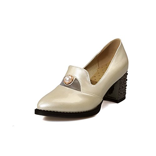 Solid Shoes Kitten Toe Beige WeenFashion Closed On Heels Pointed Pull Women's Pumps 8x8Rqv