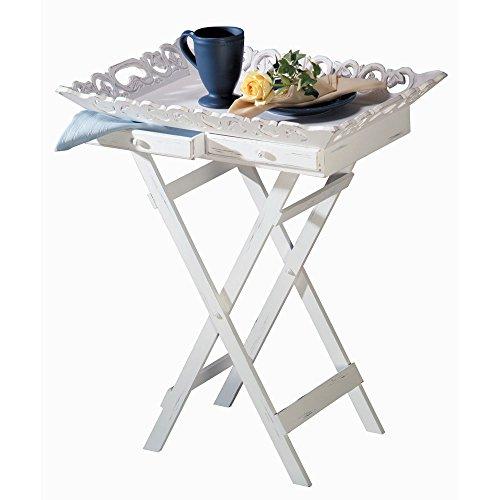 White Wood Shabby Cottage Chic Elegant Folding Tray Stand Table - Shabby Table Folding