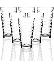 Circleware 40133 Pulse Set of 6-15.75 oz Heavy Base Highball Drinking Glasses Tumblers Ice Tea Beverage Cups Glassware for Water, Juice, Beer and Bar Decor Gifts, 6pc, Clear