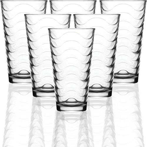 (Circleware 40133 Pulse Set of 6-15.75 oz Heavy Base Highball Drinking Glasses Tumblers Ice Tea Beverage Cups Glassware for Water, Juice, Beer and Bar Decor Gifts, 6pc, Clear)