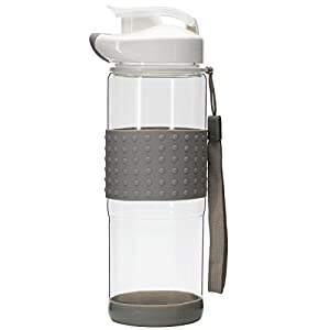BONISON Flip Top Glass Water Bottle Silicone Wrap Glass Bottle Wide Mouth Spout Bottle BPA Free Lead Free Drinking Cup With Flip Top Lid Spout Cap Carrying Handle String-18.5 oz-Gray