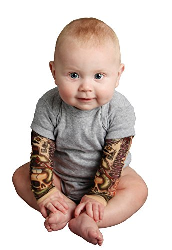 Tottude Baby Boys' Chopper Tattoo Sleeve Bodysuit 6 Months Gray