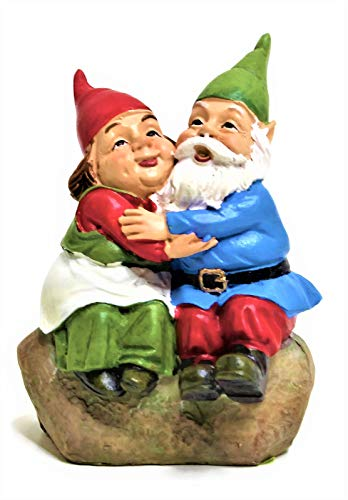 (Medium Scale Lovely Mr and Mrs Gnome Couple Garden Statue Small Indoor Outdoor Yard Lawn Ornament Figurine Home Decor Size 4.5''Tall. Great for Small Garden or Some Sizes of Fairy)