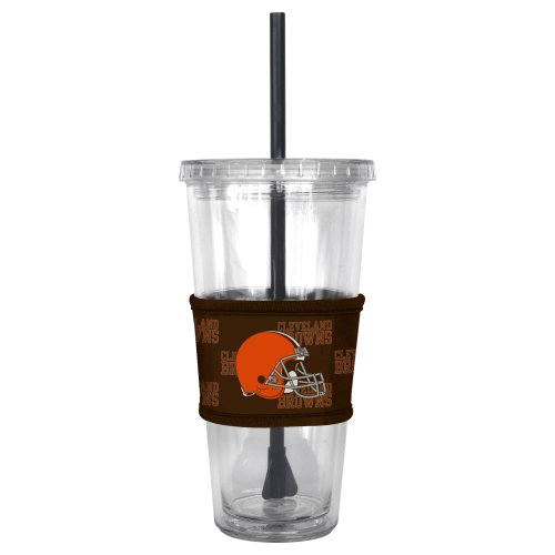 (NFL Cleveland Browns Tumbler with Neoprene Sleeve and Straw, 22-Ounce)