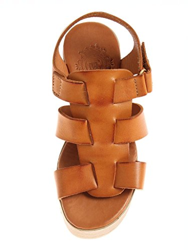 Shoes von Leather M Colors Kathamag Platform Two with High 1522 Sandals Ladies Heeled Summer Camel z5xZqwx