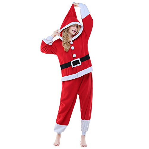 NEWCOSPLAY Unisex Adult One- Piece Cosplay Animal Pajamas Halloween Costume (XL, Santa Claus) -