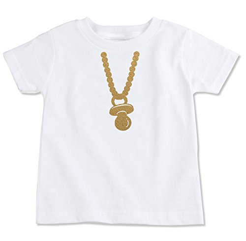 The Spunky Stork Gold Chain Pacifier Organic Cotton Toddler T-Shirt (2T)