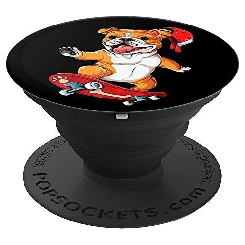 English Bulldog Skateboard T shirt Dog Skater Skateboarding - PopSockets Grip and Stand for Phones and Tablets ()