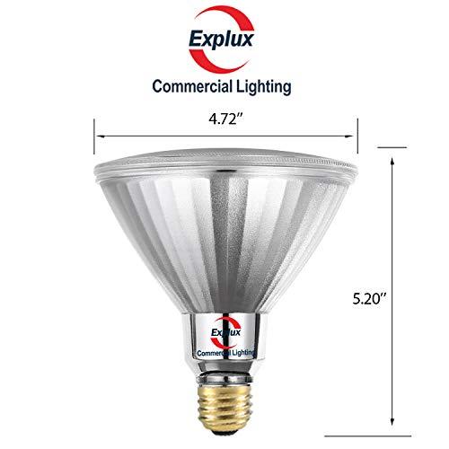 Explux 250W Equivalent PAR38 LED Flood Light Bulbs, Full-Glass Weatherproof, 2650 Lumens, Dimmable, 5000K Daylight, 2-Pack