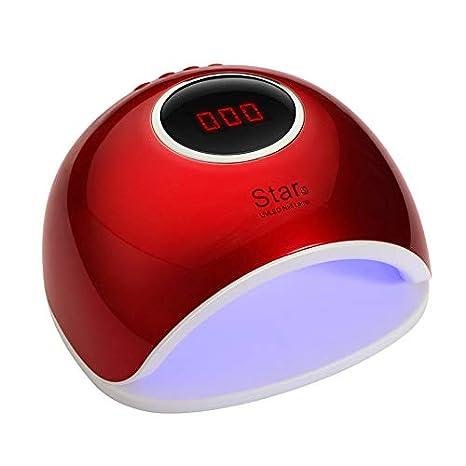 RIXTHY Lámpara LED Uñas 72W,Secador de Uñas con 4 Tipos de ModosTemporizador Profesional Sensor