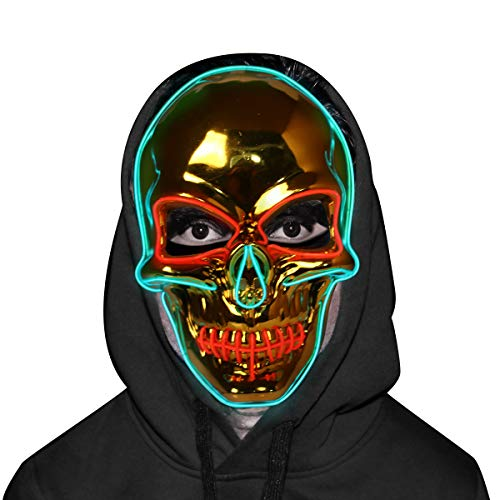 Skull Mask - Halloween LED Light Up Purge Mask - Golden