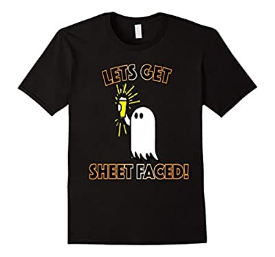 Lets Get Sheet Faced Funny Halloween Beer Shirt for Adults