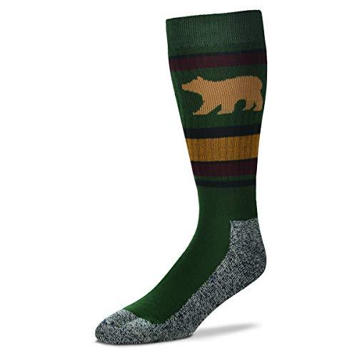 For Bare Feet Men's Fbf Originals Wildlife Novelty Sock, Bear Wild Stripes, Large