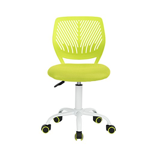 FunitureR Kids Study Chair Armless Swivel Desk Chairs Plastic Colorful Wheels-Green