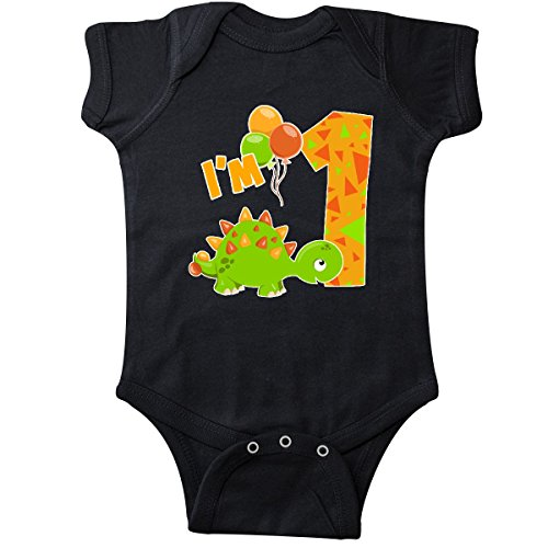 inktastic - Happy Dinosaur First Infant Creeper 18 Months Black 2e78b