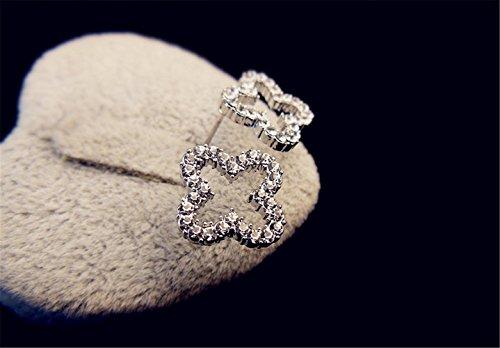 P.phoebus 18K White Gold Plated Vintage Swarovski Crystal Studs Earrings Rhinestones Dangle Charms Hoops for Women Girls (8)