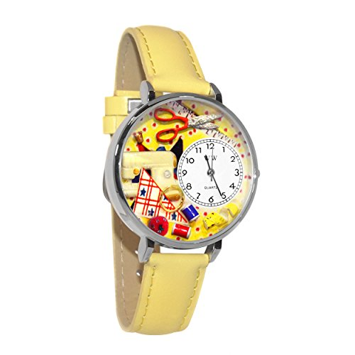 Whimsical Watches Unisex U0450001 Sewing Yellow Leather Watch ()