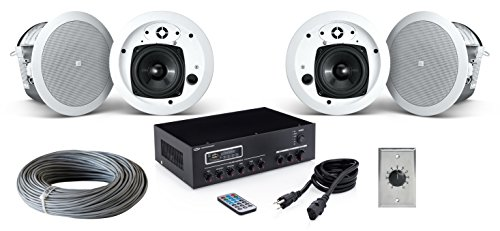 Click to buy JBL Control 24CT MicroPlus 4 Inch In-Ceiling Loudspeaker Bundle with Pure Resonance Audio MA30BT Bluetooth Mixer Amplifier and Accessories - Office Sound System (4 Speakers, White / Stainless Steel) - From only $787.99